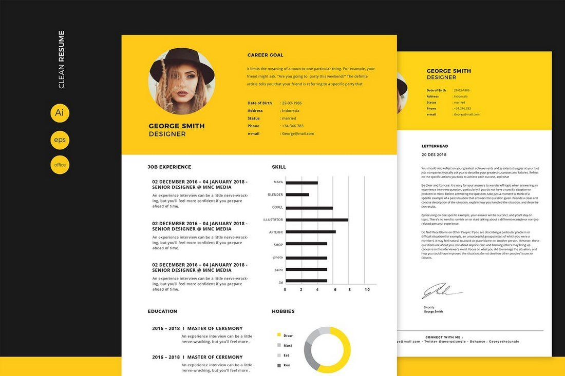 Clean-CV-Resume-Template 50+ Best CV & Resume Templates 2020 design tips