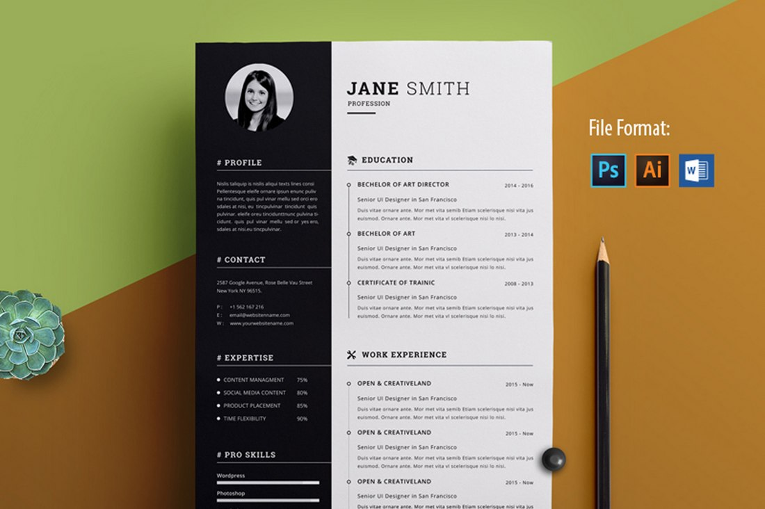 Clean & Creative Resume Template Word
