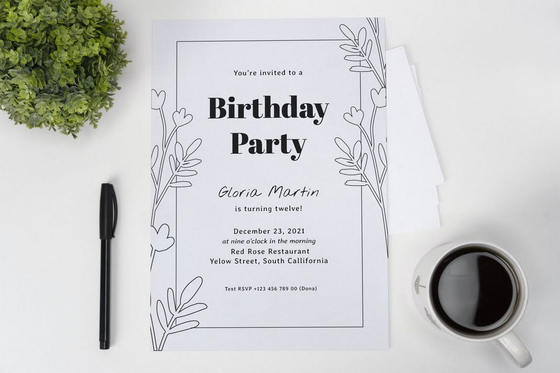 Clean Leaf Birthday Party Invitation Template