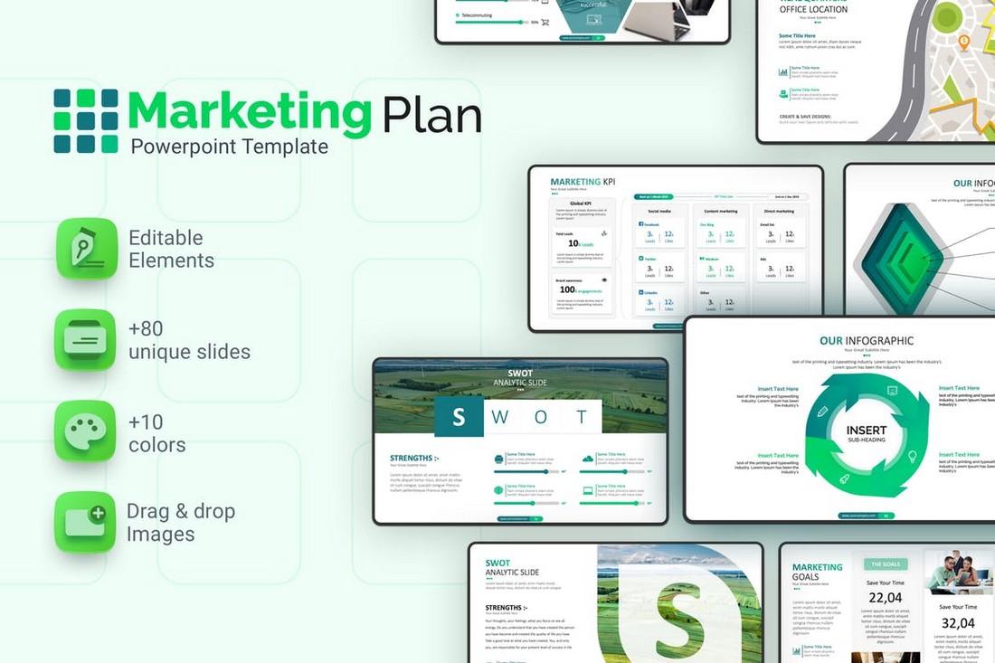 Clean Marketing Plan PowerPoint Template