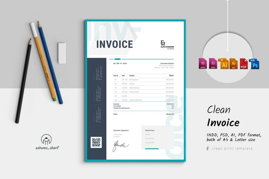 Clean-Modern-Invoice-Template-For-InDesign 20+ Best Invoice Templates for InDesign & Illustrator (Free + Premium) design tips  Inspiration