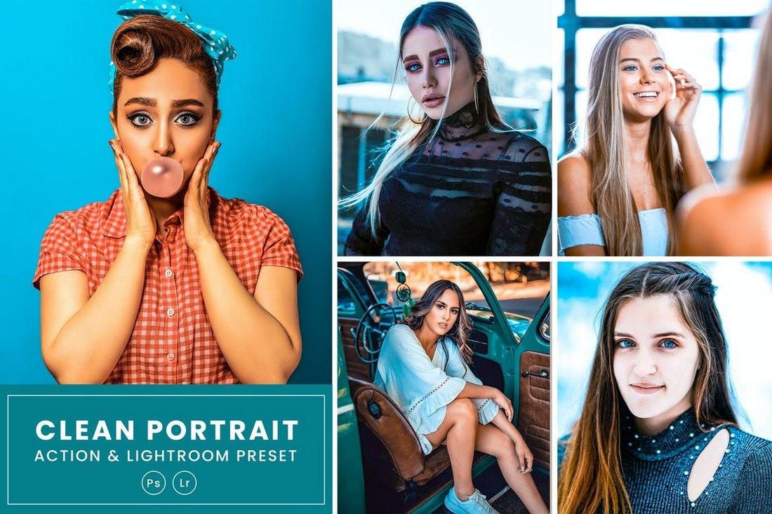 Clean Portrait Action & Lightrom Preset