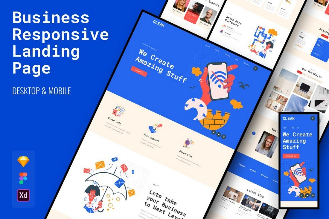 Clean Responsive Business Landing Page Template