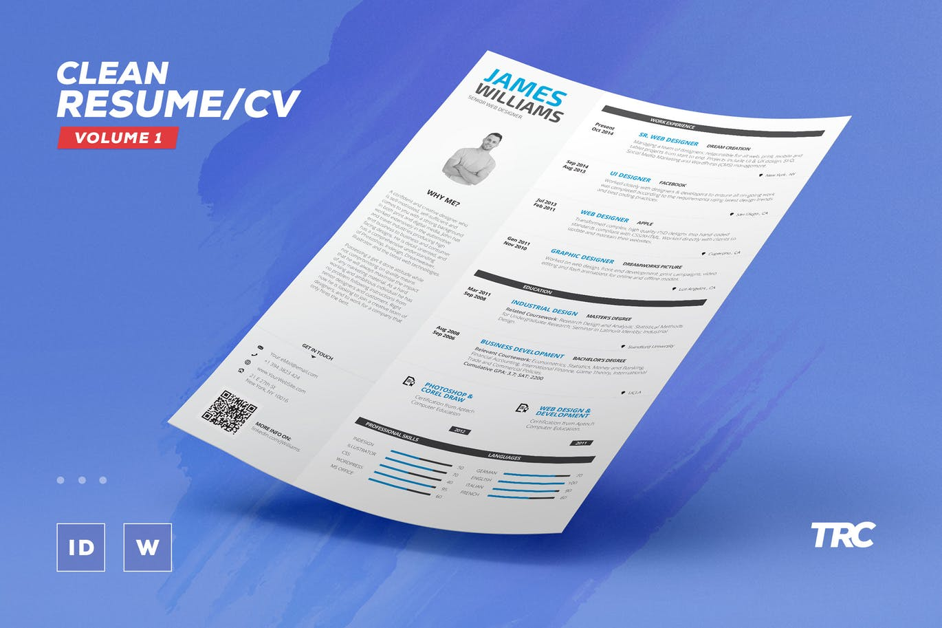 This Resume Template Clean And Minimal And It Gets The Job Done Perfectly.  Itu0027s A Single Page Resume Template Thatu0027s Available In Word And InDesign.
