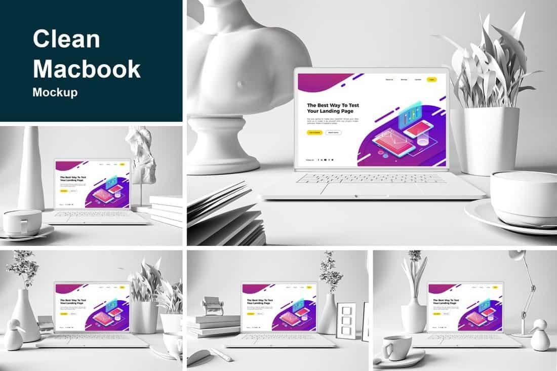 Clean Studio MacBook Mockups