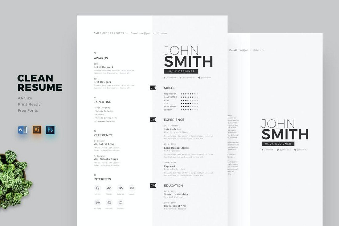 Clean Word Cover Letter & CV Template