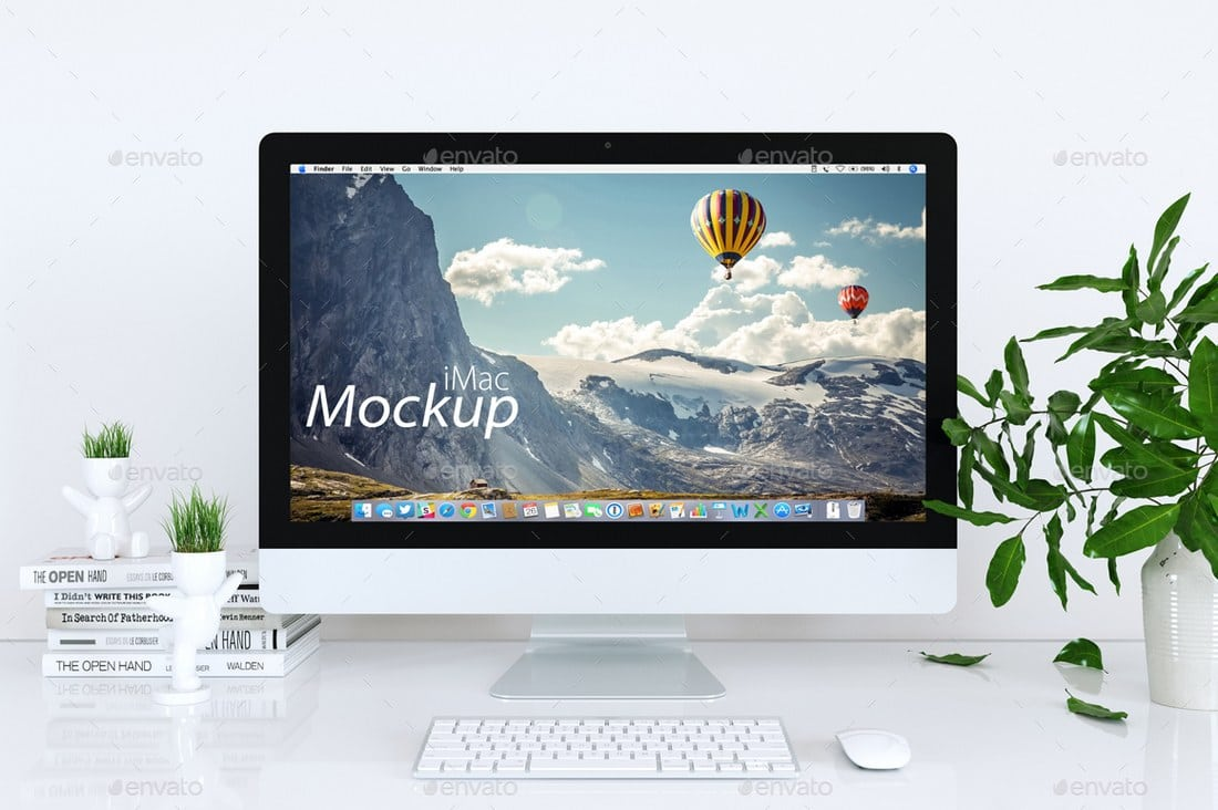 Clean iMac Mockup White Background