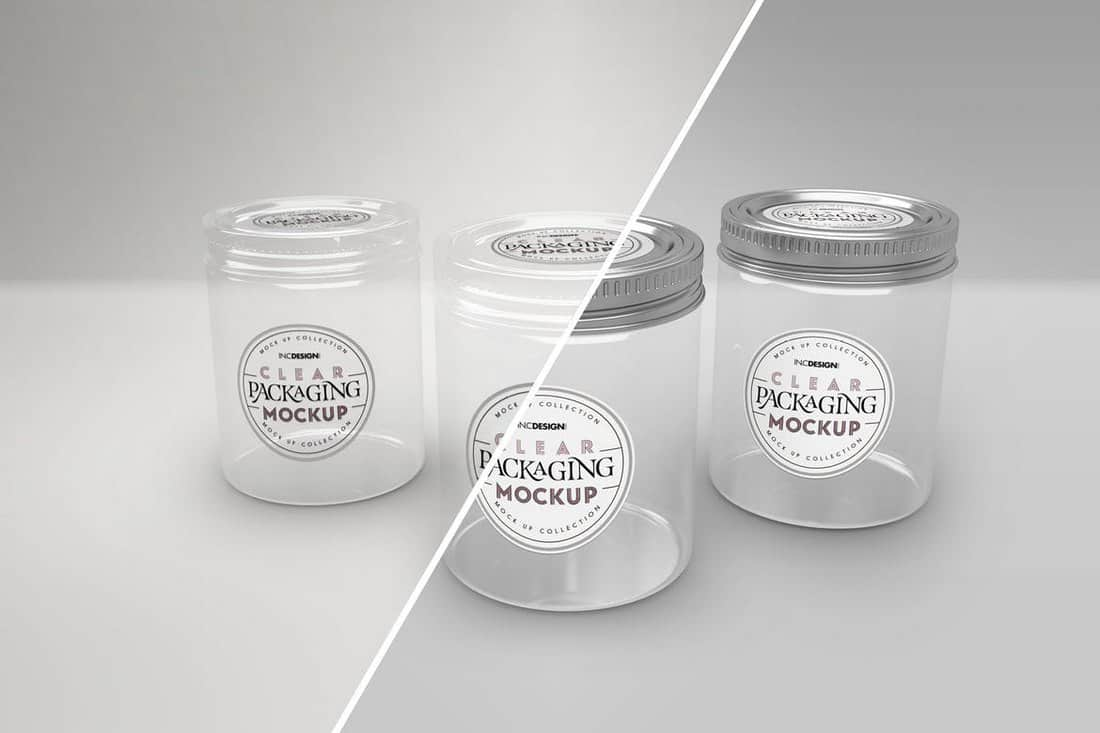 Clear Jars with Metal Lids Mockup