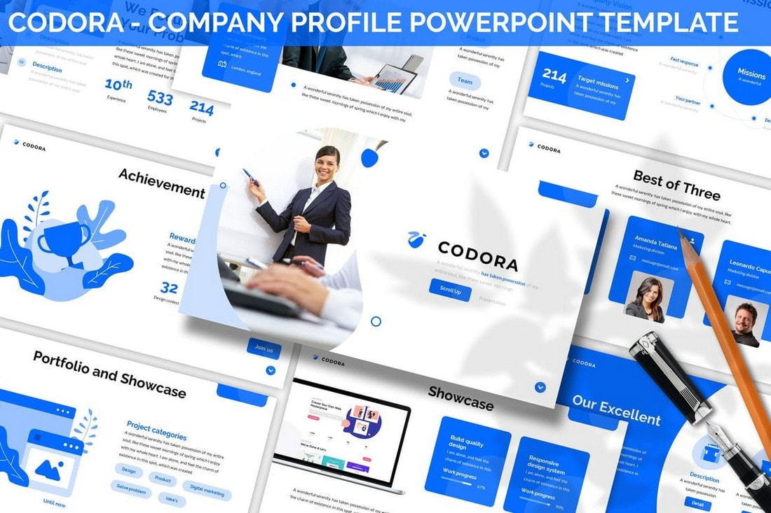 Codora-Company-Profile-Powerpoint-Template 20+ Best Company Profile Templates (Word + PowerPoint) design tips  Inspiration|company profile