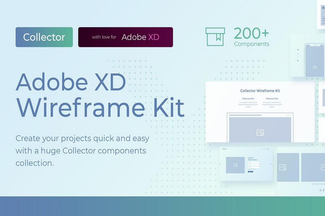 Collector - Website Wireframe Kit for Adobe XD