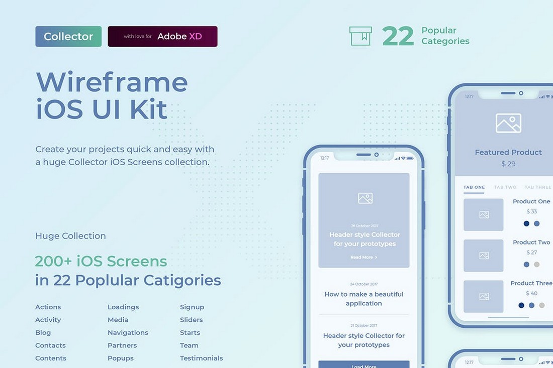 Collector iOS Wireframe UI Kit for Adobe XD
