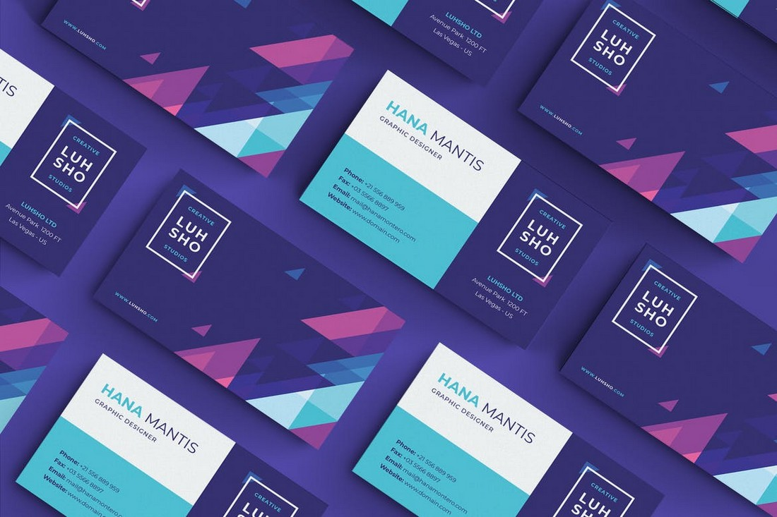 Colorful Business Card Template for Designers
