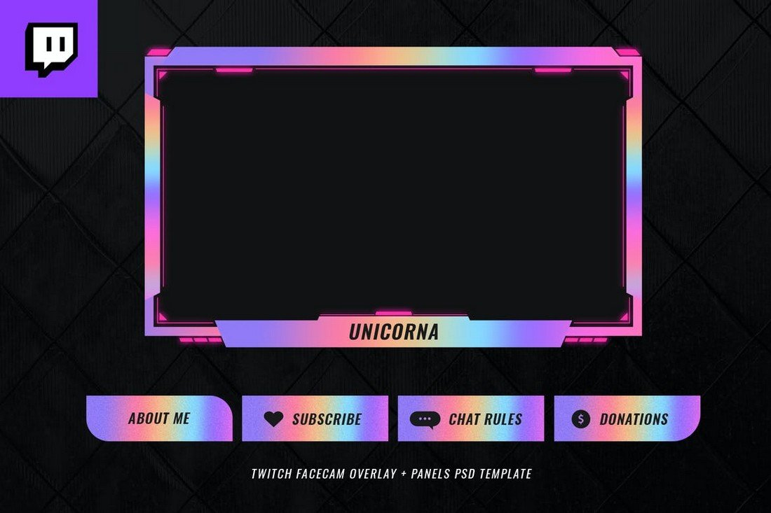 Colorful Twitch Stream Overlay Template
