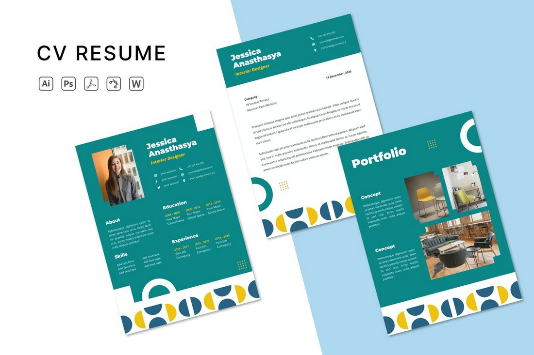 Colorful Word Cover Letter & Resume Template
