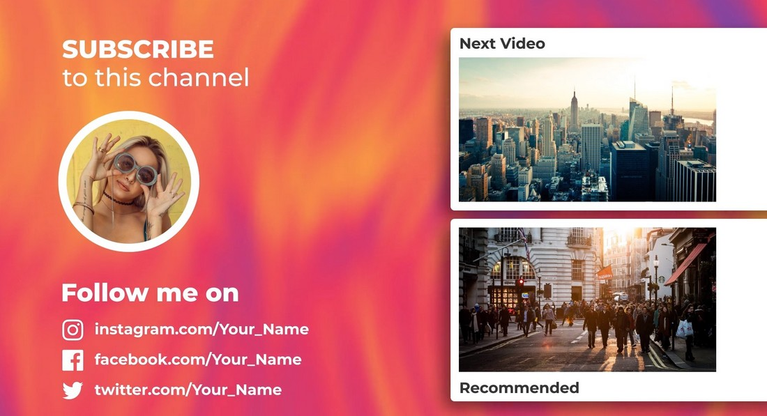 Colorful YouTube End Screen Premiere Pro Templates