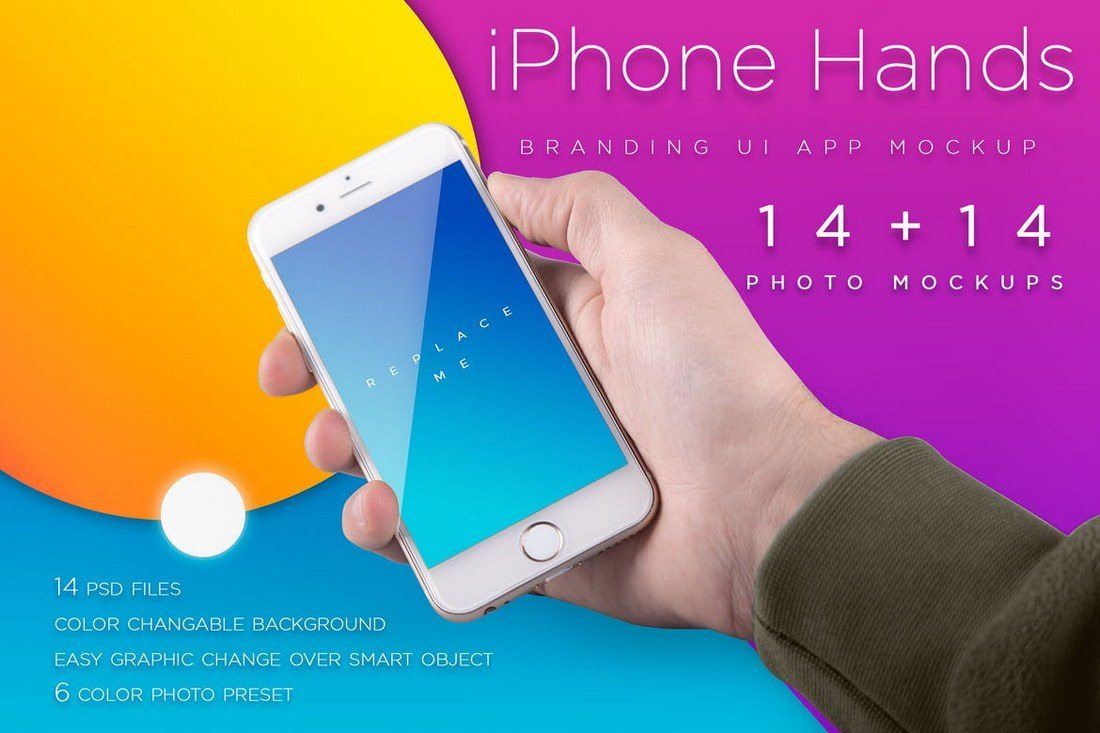 Colorful-iPhone-Mockups 100+ iPhone PSD & Vector Mockups design tips