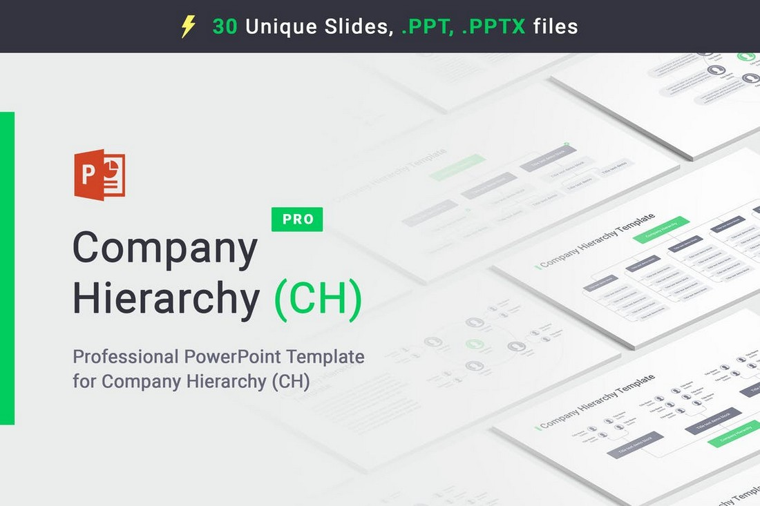 Company Hierarchy Flow Chart PowerPoint Templates