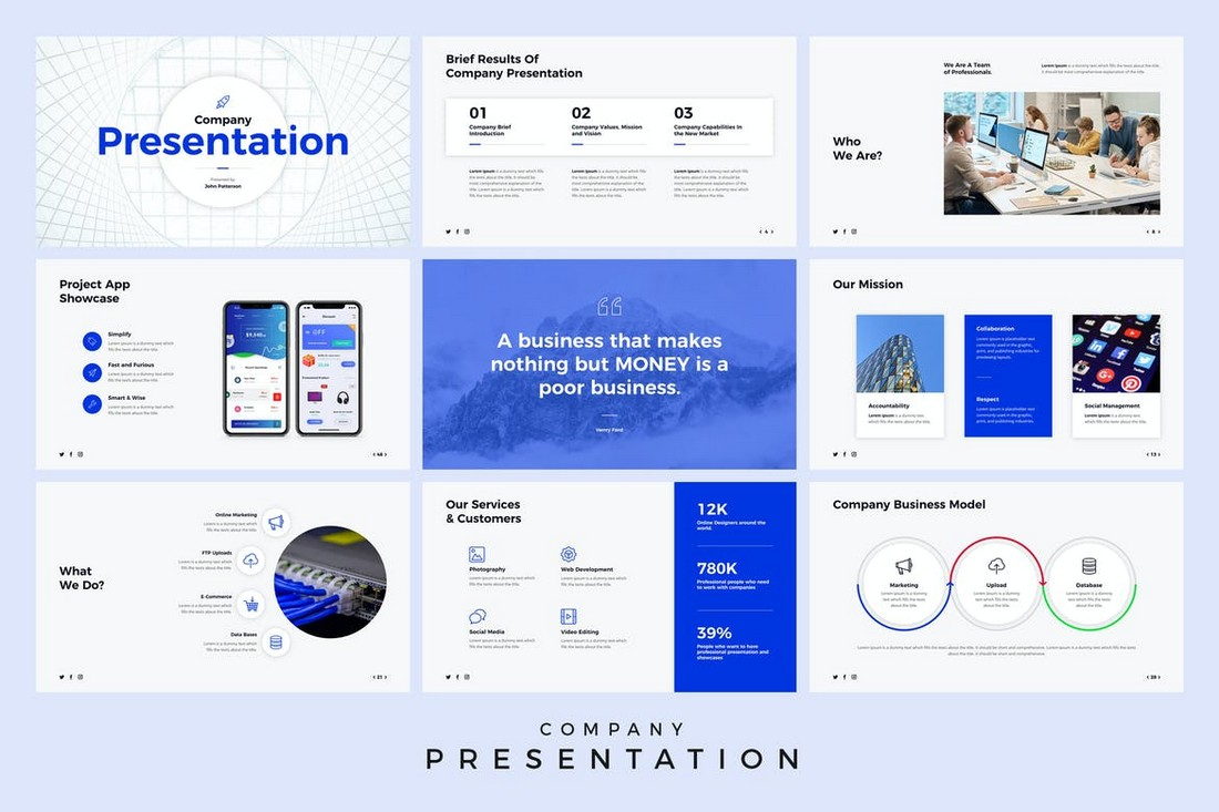 Company-Presentation-Animated-PowerPoint-Template 30+ Animated PowerPoint Templates (Free + Premium) design tips