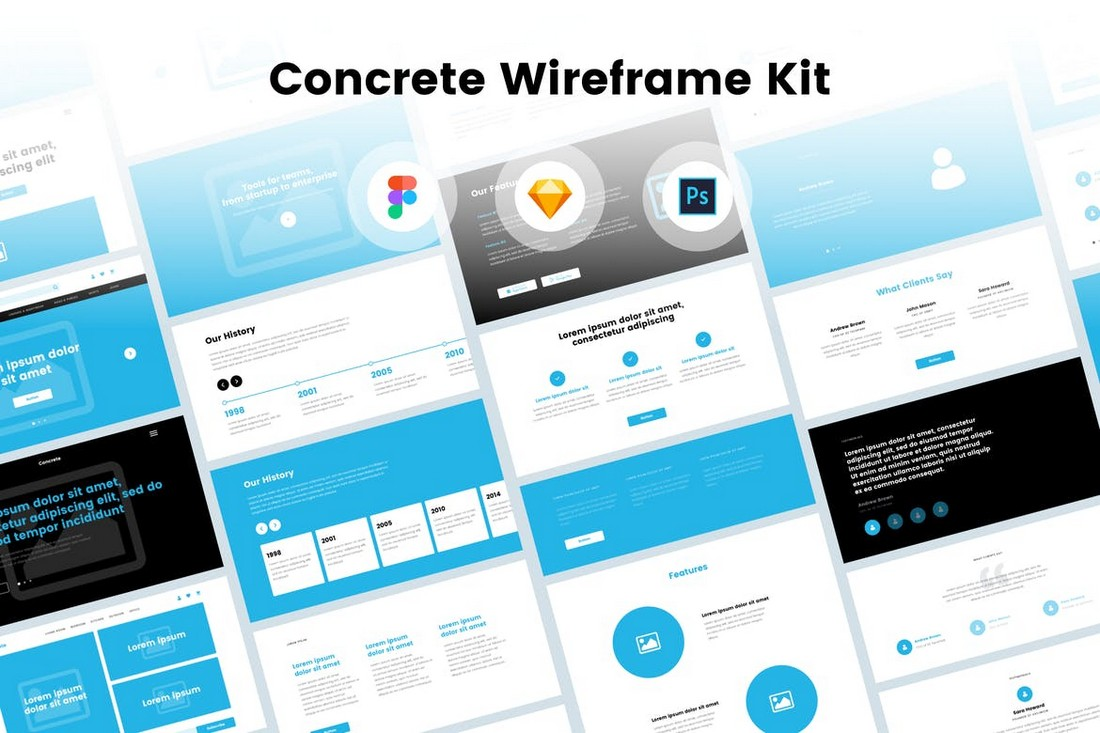 Concrete Website Wireframe Kit for Photoshop