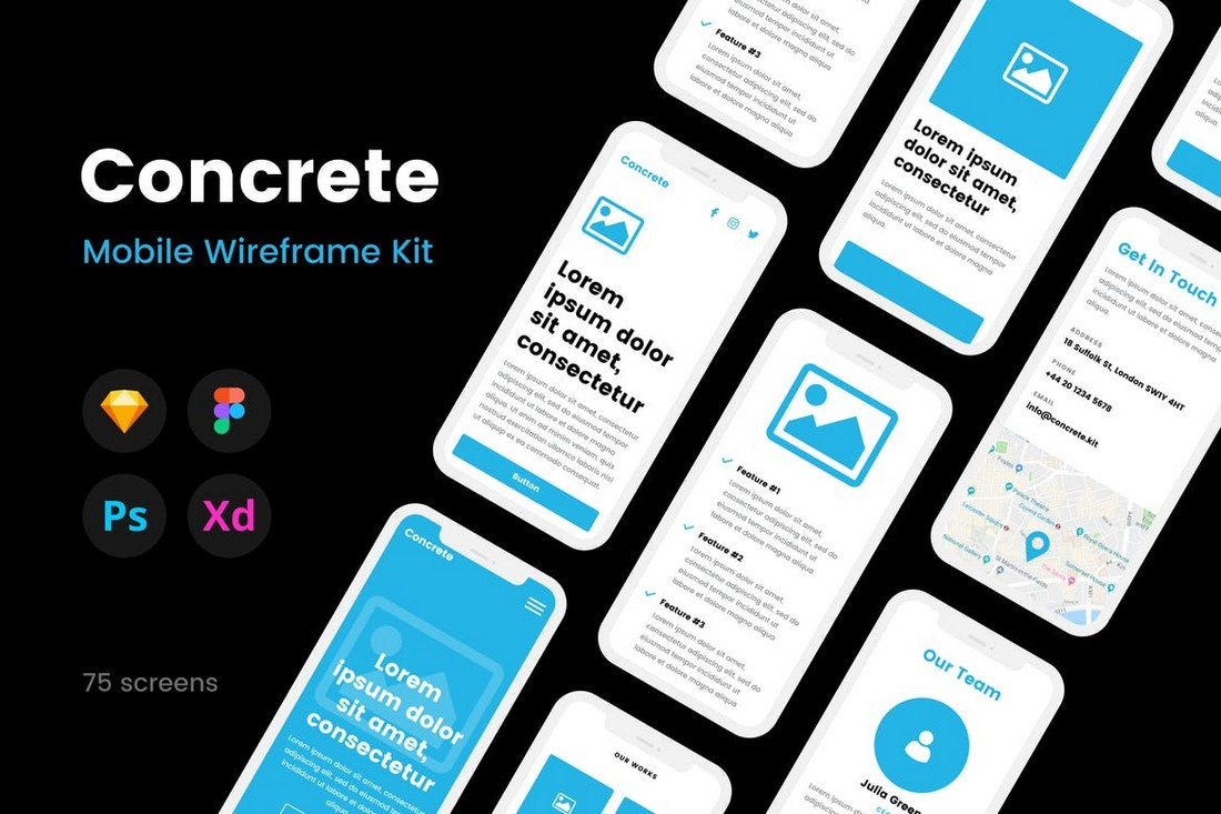Concrete - iOS & Android Mobile Wireframe Kit