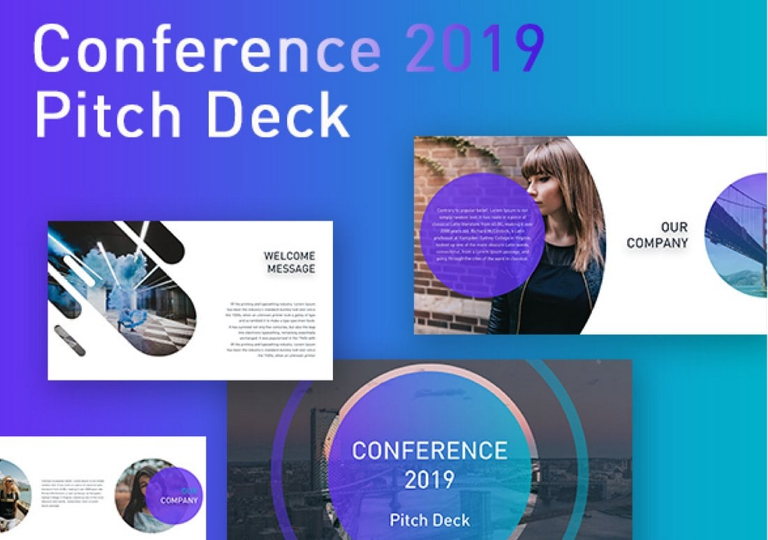 Conference-Free-Pitch-Deck-PowerPoint-Template 30+ Best Business & Corporate PowerPoint Templates 2021 design tips