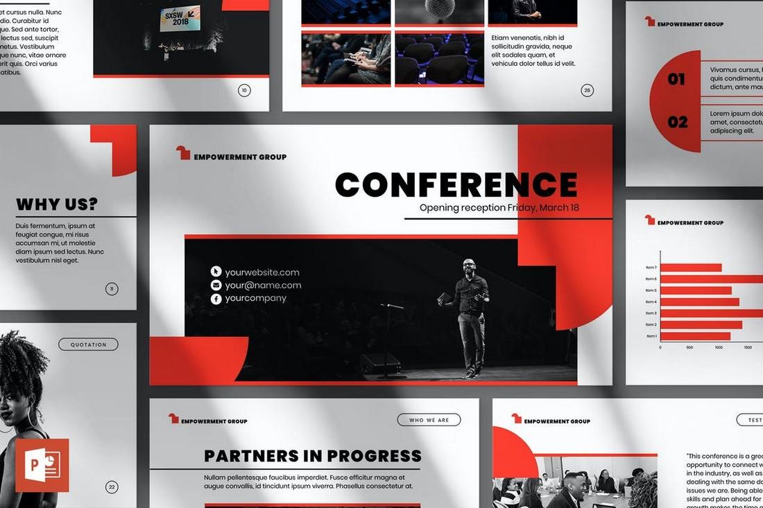 Conference-PowerPoint-Presentation-Template 20+ Best Webinar PowerPoint Templates (Remote Presentation PPT Slides) design tips