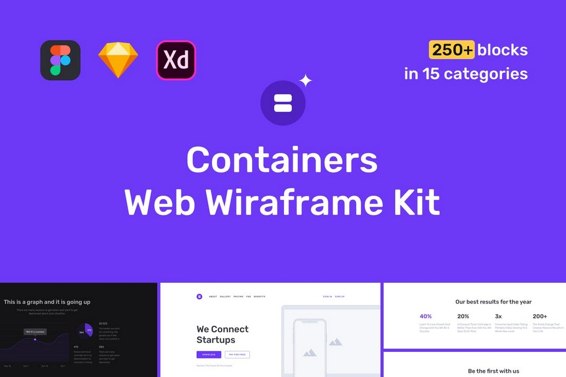 Containers Website Wireframe Kit - Sketch & Adobe XD