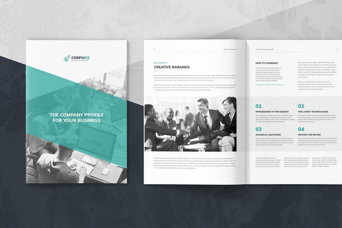 CorpoBiz-%E2%80%93-Business-Company-Profile-Template 20+ Annual Report Templates (Word & InDesign) 2018 design tips