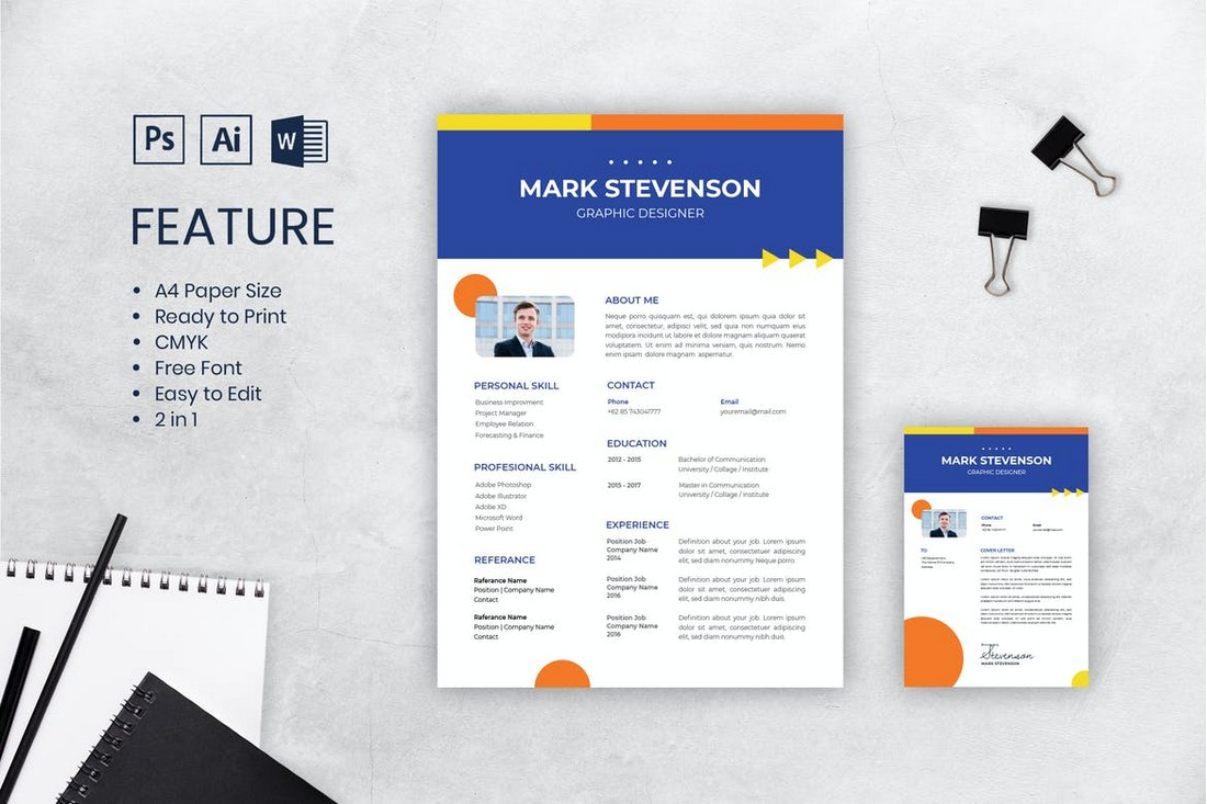 Corporate CV Resume Template A4