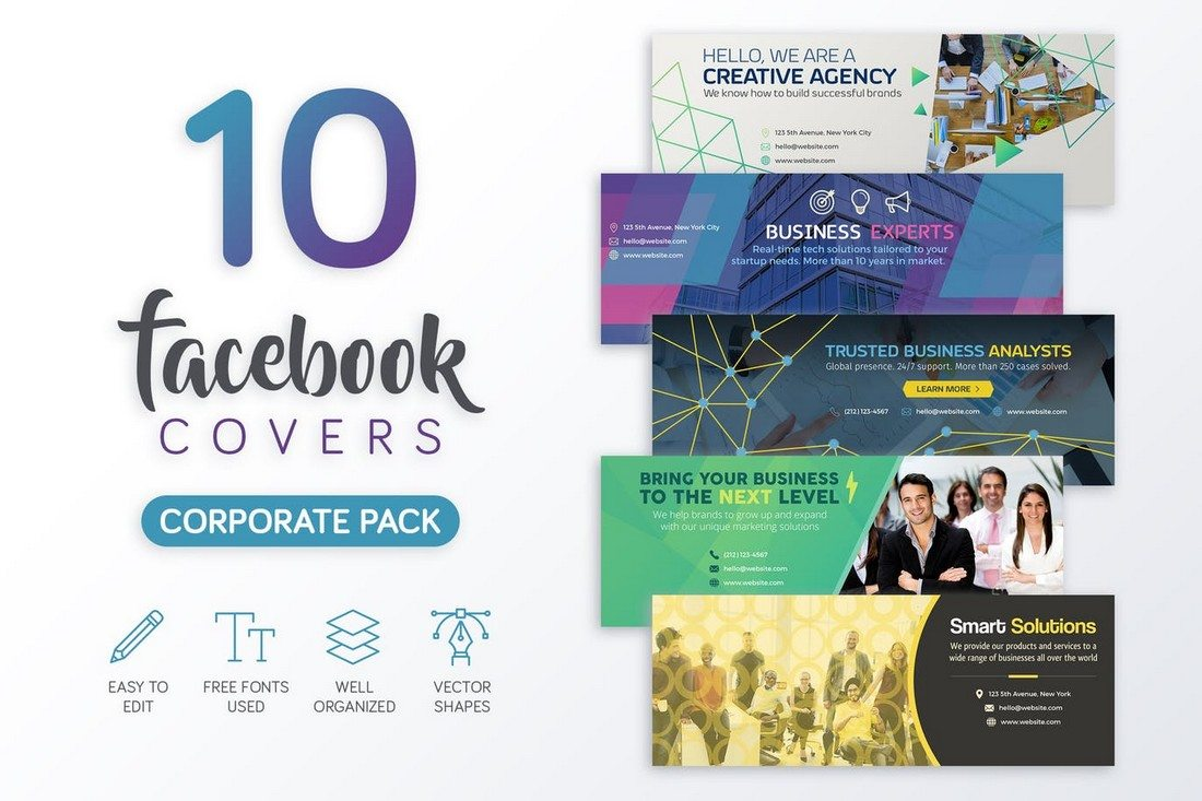 20 best facebook cover post mockups design shack this bundle of facebook covers comes with 10 unique designs for creating pages for corporate businesses agencies and marketers each template in the pack accmission Image collections