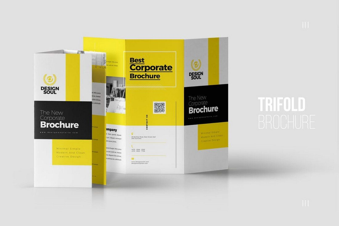 this tri fold brochure template features a clean and a professional design thats perfect for presenting a brand or a business related to advertising or