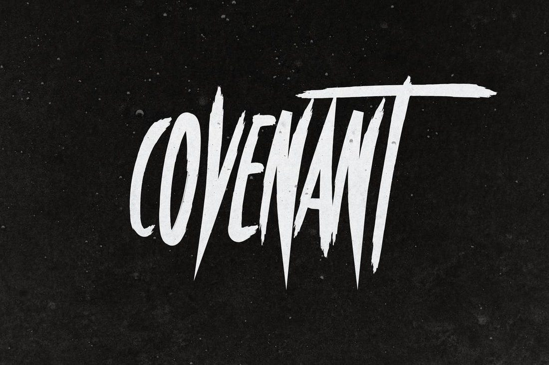 Covenant Is A Brush Style Poster Font With Uppercase Letters Thats Perfect For Designing Posters Book Covers And Banners Related To Horror Or Thriller