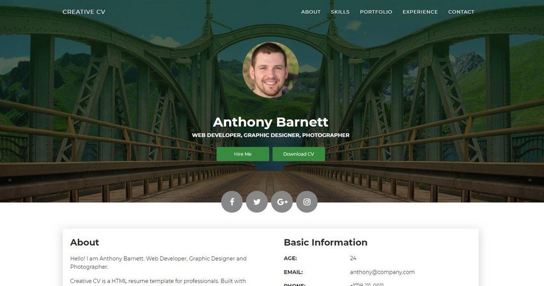 Creative CV - Free Resume HTML Template
