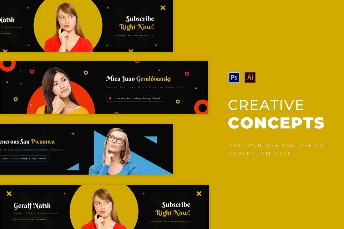 Creative Concept Youtube Cover Art Templates