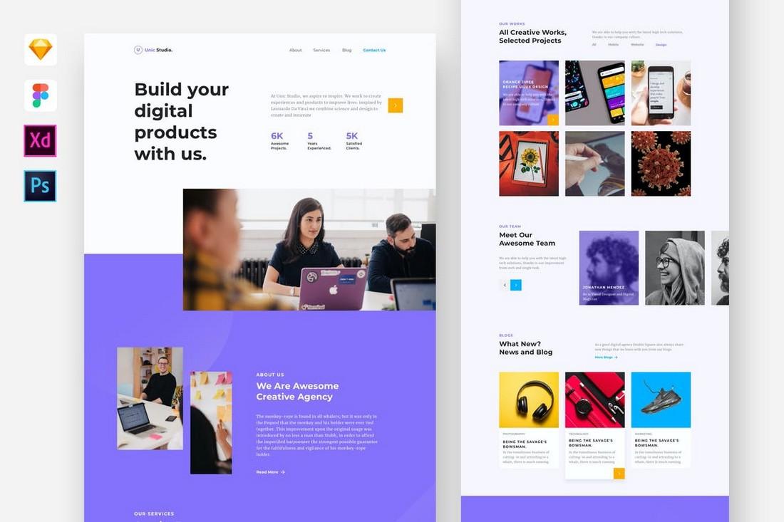 Creative Digital Agency Adobe XD Website Template