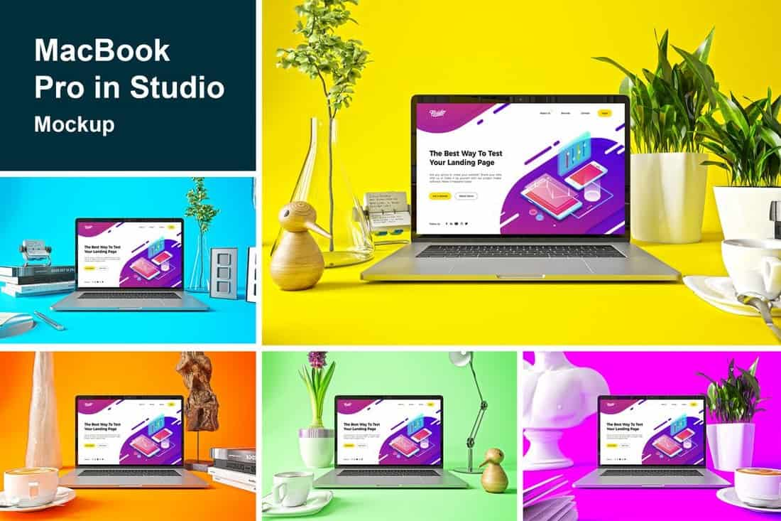 Creative MacBook Pro in Studio Mockups