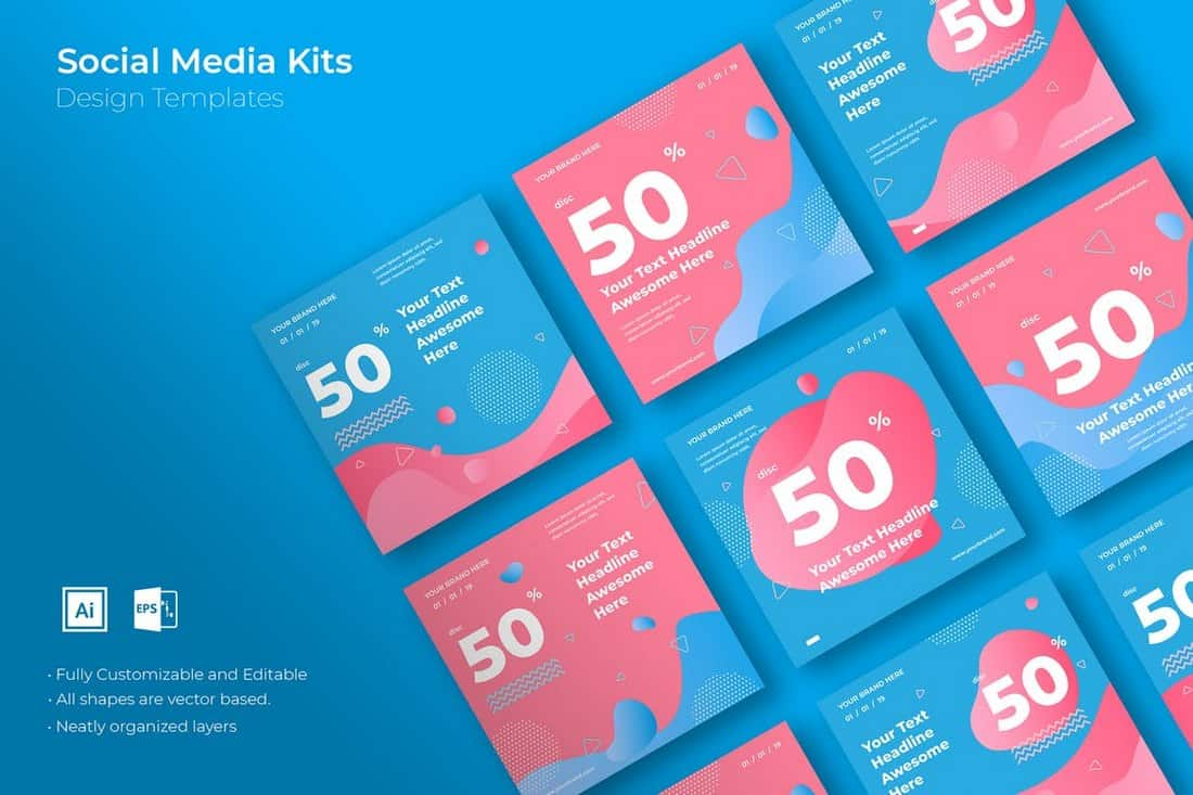 Creative-Marketing-Social-Media-Kit 40+ Best Social Media Kit Templates & Graphics design tips  Inspiration|facebook|social media|twitter