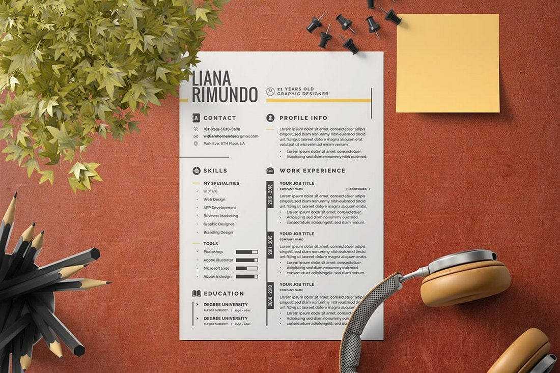 Creative-Minimalist-CV-Resume-Template 50+ Best CV & Resume Templates 2020 design tips