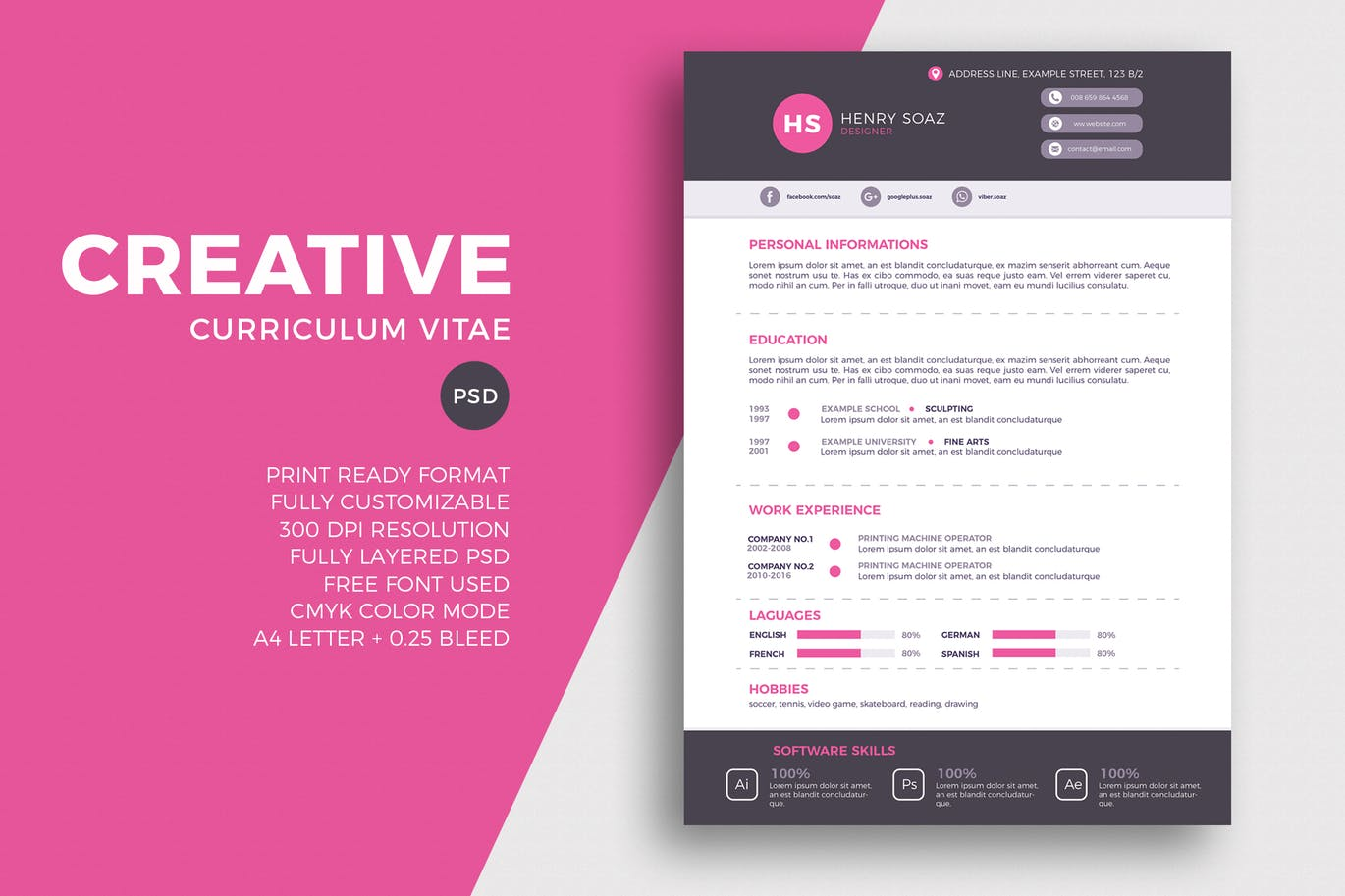 A Simple Yet A Creative Resume Template That Will Suit Almost Any Type Of A  Job Application. The Template Is Available In Print Ready PSD Format.  Graphic Design Resume Template