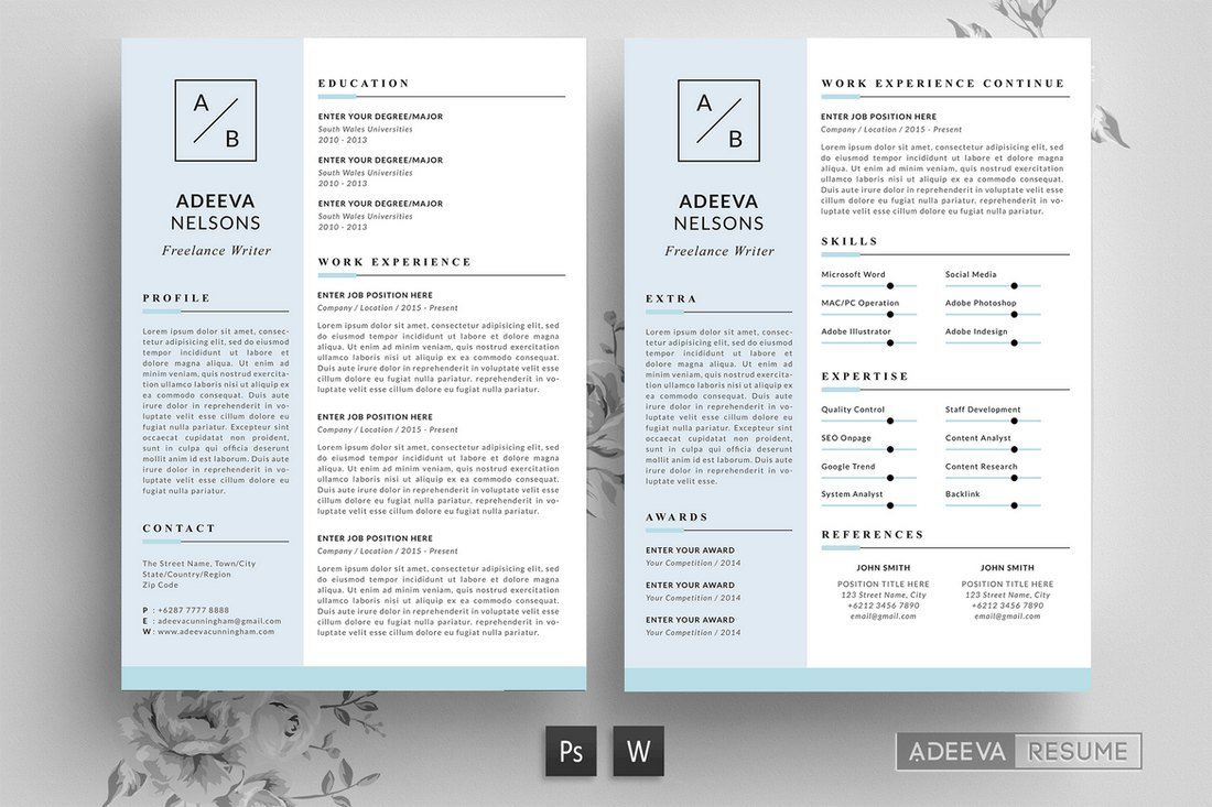 50  best cv  u0026 resume templates of 2019  u2013 simply psd