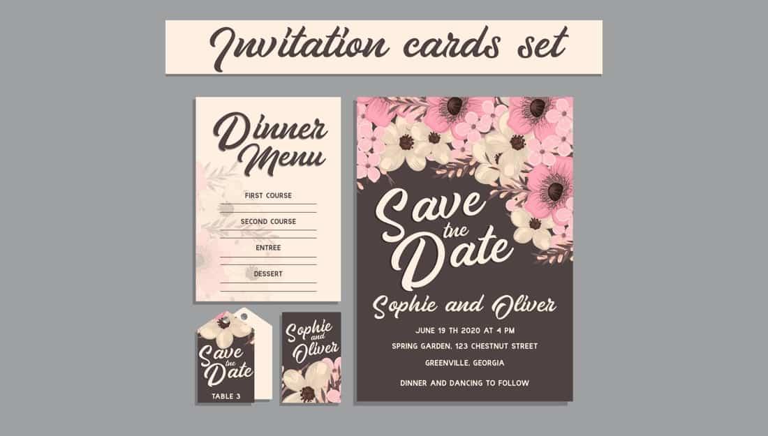 Wedding Invitation, floral invite card