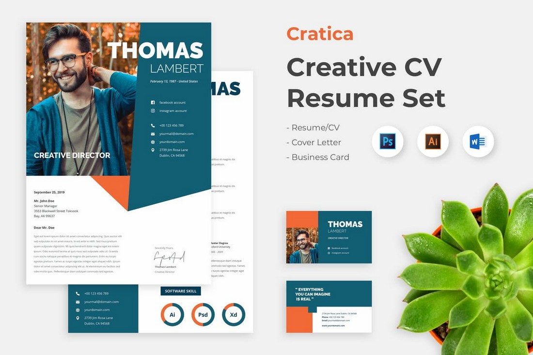 Creative Word Resume & Cover Letter Template