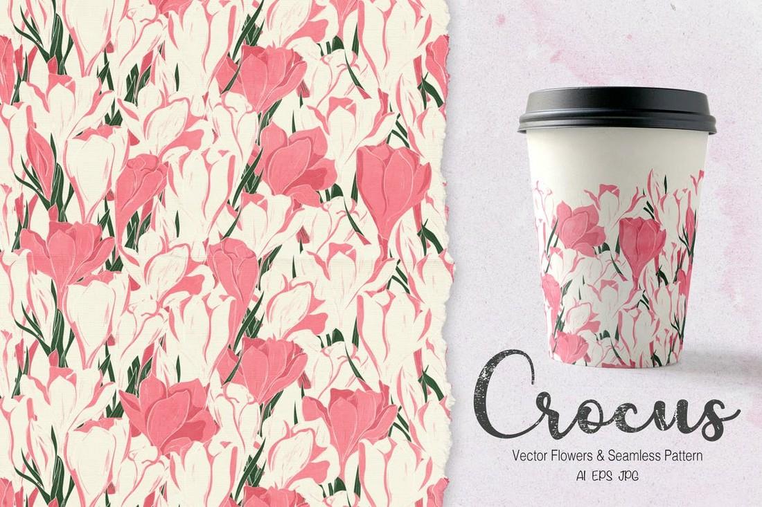 Crocus - Pink Floral Backgrounds & Patterns