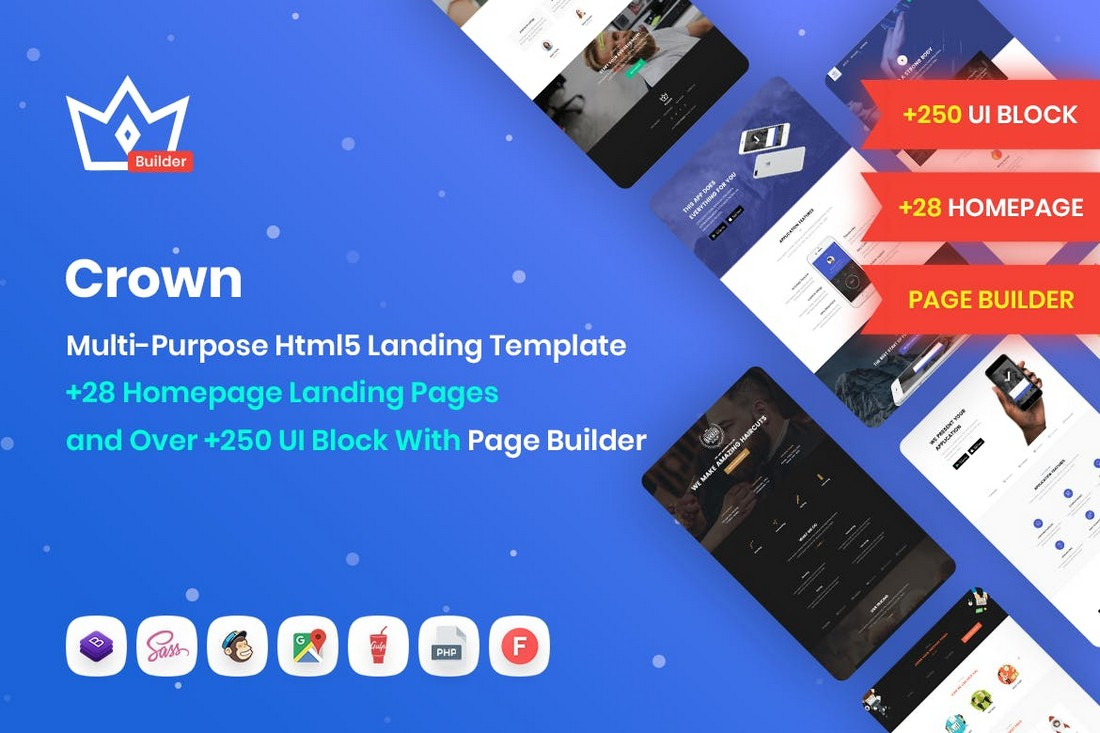 Crown-Multipurpose-Landing-Page-Template 50+ Best App Landing Page Templates 2021 design tips