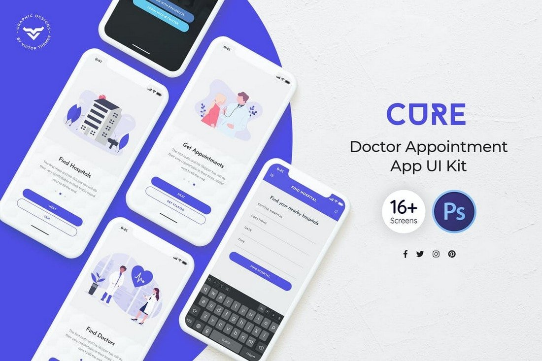 Cure-Doctor-Appointment-Mobile-App-UI-Kit 25+ Best Mobile App UI Design Examples + Templates design tips  Inspiration