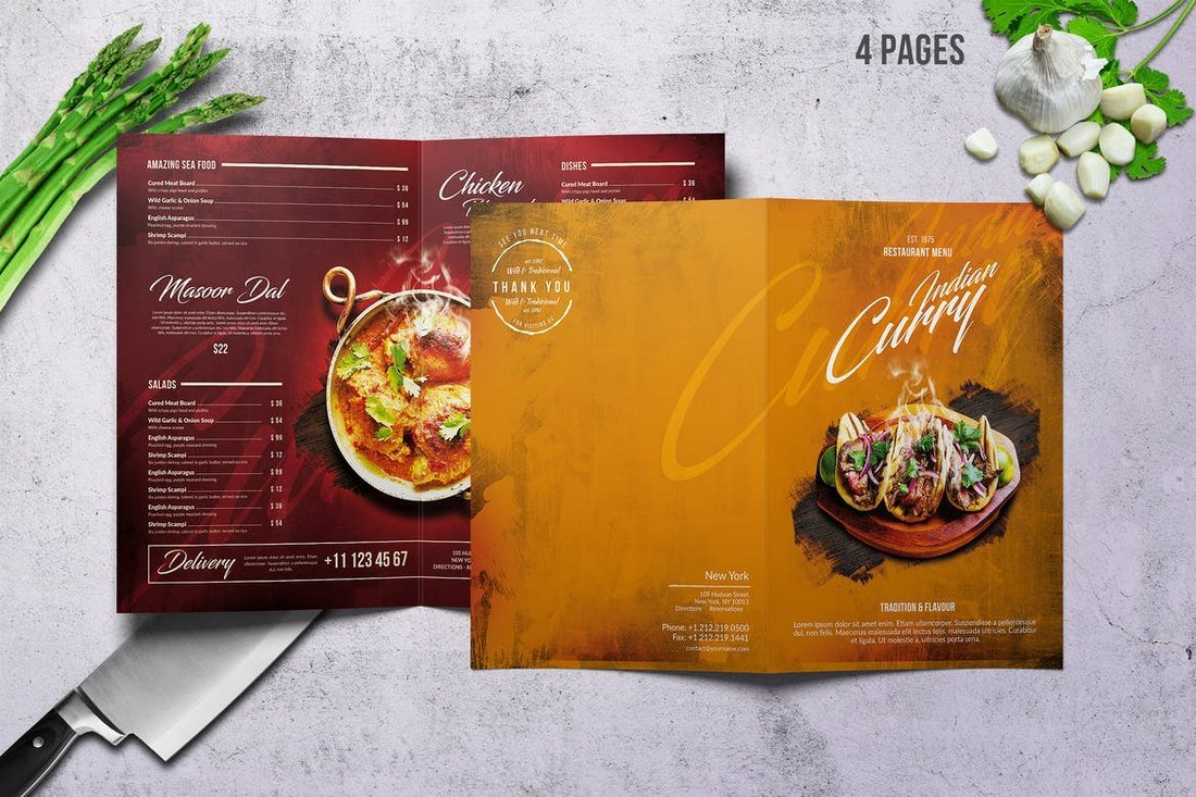 Curry-Indian-Food-and-Drink-Menu-Template 50+ Best Food & Drink Menu Templates design tips