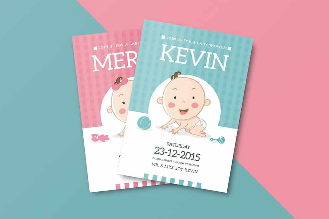Cute Baby Shower Invitation Template