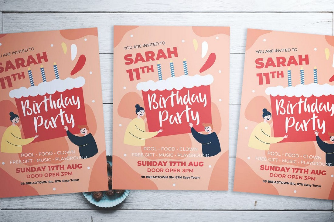 Cute Birthday Party Flyer Template