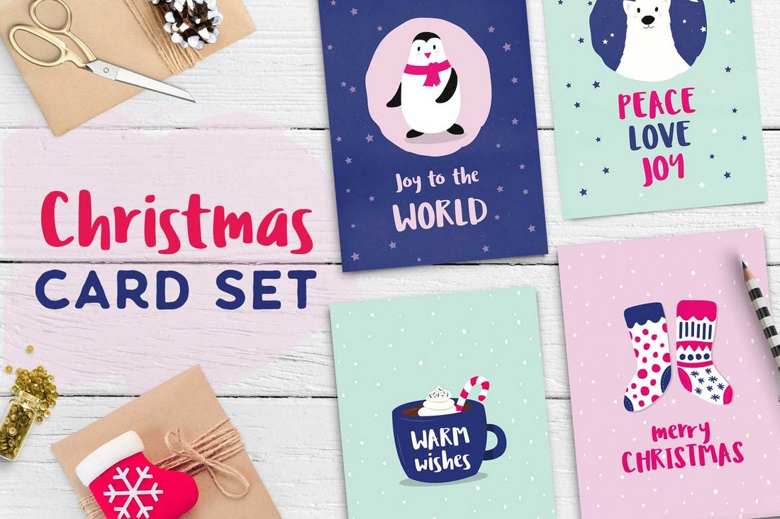 Cute Christmas Card Templates Set