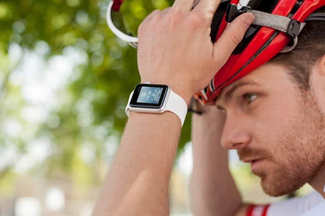 Cyclist Wearing Apple Watch Mockup